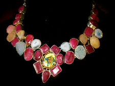 KATE SPADE NY PINK CHANDELIER DROP EARRINGS + RUBY DICHROIC GEM GLASS NECKLACE