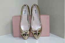 New Miu Miu Gold GLITTER TRIMMED Crystal Beads BALLERINA Flat Shoes sz 6.5  36.5