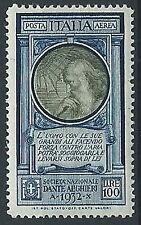 1932. REGNO POSTA AEREA DANTE 100 LIRE MNH ** - T182-4