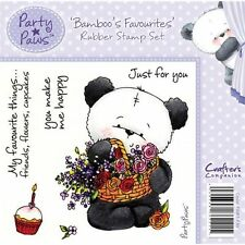 Crafters Companion PARTY PAWS Unmounted Rubber Stamps BAMBOO'S FAVOURITES
