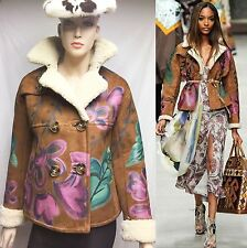 $6,500 Burberry Prorsum 6 Hand Painted Suede Shearling Leather Jacket Coat Women