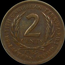 1955 British Caribbean Territories Eastern Group 2 Cents large