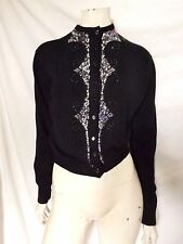 Vintage 50s ORIGINAL ~ Black Beaded & Sequin Cocktail Cardigan ~ S/M B38""