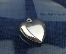 Original Vintage Romantic Puffy Heart Silver Charm