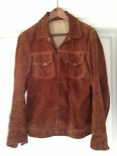 Vintage USA Slim Fit Trucker Jacket Suede Leather Distressed Levis type