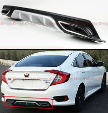 For 2016-2017 Honda Civic Silver Rear Bumper Diffuser W/ Decorative Exhaust Tips