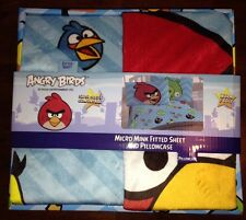 ANGRYBIRDS MICROMINT FITTED SHEET PILLOW CASE SUPER SOFT COMFORTABLE WARM COZY