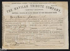 Share Scrip - Gold Mining. 1873 The Havilah Tribute Co - Inglewood Vic.