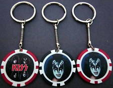 KISS Rock Band & Gene Simmons Tongue BLACK Poker Chip Keychain Key Chain