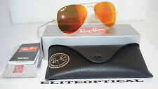 New Authentic AVIATOR RAY BAN Gold/Mirror Red Polarized RB3025 112/4D