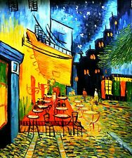 """Wither(After Vincent Van Gogh)-""""Cafe Terrace at Night""""-ORIGIN Oil/Canvas/Signed"""
