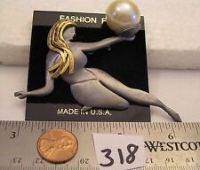 Vtg Signed Ultra Craft Nude Girl Holding Pearl Globe Hand Brooch Pewter Jewelry