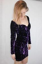 MOTEL UK Off Shoulder Slinky SEQUINS Purple Bustier CORSET  NICOLA DRESS $149 S