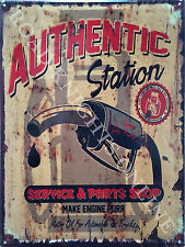 American Retro Garage Authentic Petrol Gas Station Old Car, Large Metal/Tin Sign