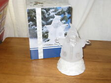 CHANGING COLOR CLEAR & FROSTED ACRYLIC ICE SCULPTURE SANTA W/ ORIG. BOX