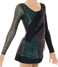 Figure Ice Skating Mondor Black Multi Color Competition Skate Dress Adult Medium