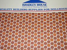 Dollhouse Building Supplies Hexagon Tile Dark Terra Cotta Flooring FF60693