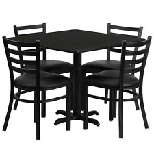 "Restaurant Table Chairs 36"" Black Laminate with 4 Ladder Back Meta Vinyl Seat"