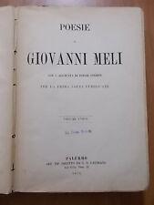 POESIE di GIOVANNI MELI Gaudiano - Palermo 1874