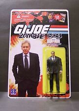 "Custom GI Joe figure and package of ""Zombie Wars"" MR PRESIDENT harrison ford"