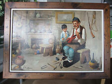 "C. CIAPPA SIGNED OIL PAINTING ON CANVAS-ITALIAN-INTERIOR SCENE-FRAMED 41"" x 28"""