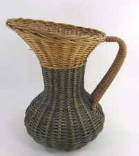 "Large Wicker Pitcher Basket 10"" Tall Handle Rattan Flowers Natural & green"