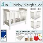 BRAND NEW 4 In 1 White Baby Toddler Wooden Sleigh Cot Bed with Mattress