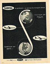 PUBLICITE ADVERTISING  1962    SABENA  compagnie aérienne BELGE