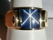 MENS 10K GOLD BLUE STAR SAPPHIRE & DIAMOND RING SZ 10.25 EXCELLENT CONDITION