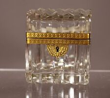 Vintage French Baccarat Cut Crystal Hinged Gilt Brass Casket Box Trinket Box