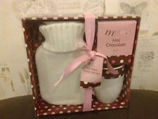 MMM HOT CHOCOLATE WATER BOTTLE AND MUG GIFT SET NEW BOXED PINK WHITE