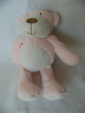 NEXT pink/white teddy bear  baby soft toy 2010 8""