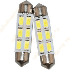 "2 x Xenon White 1.72"" 42mm 6-SMD Festoon LED Bulbs For Dome Map Light 211-2 578"