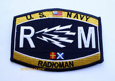 RADIOMAN RM RATING HAT PATCH PIN UP USS USN ENLISTED CHIEF US NAVY GIFT