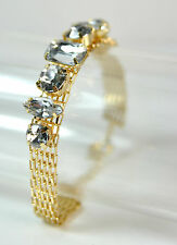 ELEGANT GOLD DIAMANTE BRACELET BRAND NEW UNIQUE CHUNKY STONES (CL7)