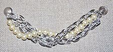 VINTAGE ST DOUBLE CHAIN LINK + FAUX PEARL UNIQUE BRACELET W/ SNAP BUTTON CLOSURE