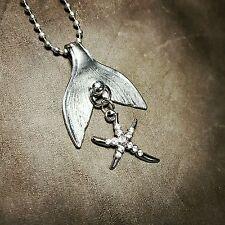 mermaid tail rhinestone starfish pendant necklace silverwarware jewelry