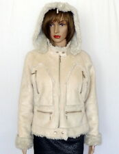Wilsons Leather Cream Suede FAUX Fur Trim Crop Hoodie Jacket Ivory Coat Size M