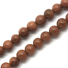 """2 Strands Gold Sand Stone Loose Beads Round Coffee 4mm(1/8"""")Dia."""