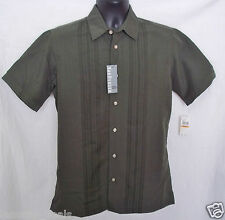 Van Heusen Mens Short Sleeve Button Down Micro Smooth Shirt SMALL 14 - 14 1/2