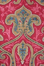 Turkey Red c 1850 Indienne large scale French fabric hand block print material