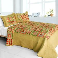 3 PC Twilight Time gold orange green country patch 100% Cotton Queen Quilt Shams