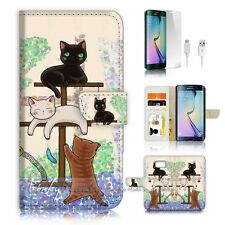 Samsung Galaxy ( S7 Edge ) Flip Wallet Case Cover P1944 Cat