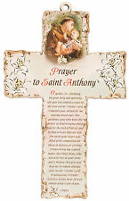 """Saint Anthony Laser cut 6"""" Wooden Cross with Prayer Nice Religious Gift"""
