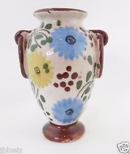 "Vintage Italian Pottery small Vase Urn handpainted 5"" Offwhite background"