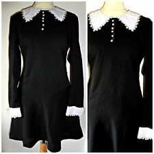 VINTAGE 60S STYLE WEDNESDAY ADDAMS DRESS BY POP BOUTIQUE UK 14 SIZE 4
