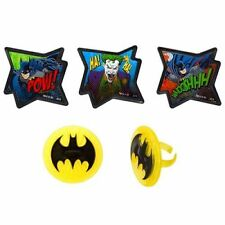 Batman 24 Cupcake Rings Birthday Favors, Prizes Bag Fillers Party Supplies Decor