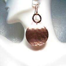"BRIGHT ROSE GOLD TEXTURED LARGE DISC DROP EARRINGS- 2"" long"
