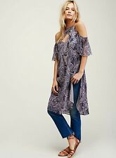 New $128 Free People Wild And Free Printed Boho Cold Shoulder Tunic Purple Small