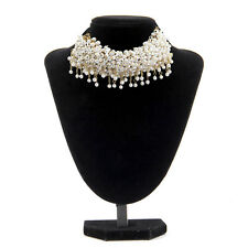 Pearl Beads Cluster Black Band Choker Collar Necklace Free Shipping Cheap Jewelr